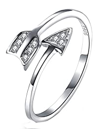 Women's 925 Sterling Silver Simple Arrow Through Heart Ring Adjustable Size Evening Party Full Finger Knuckle Rings