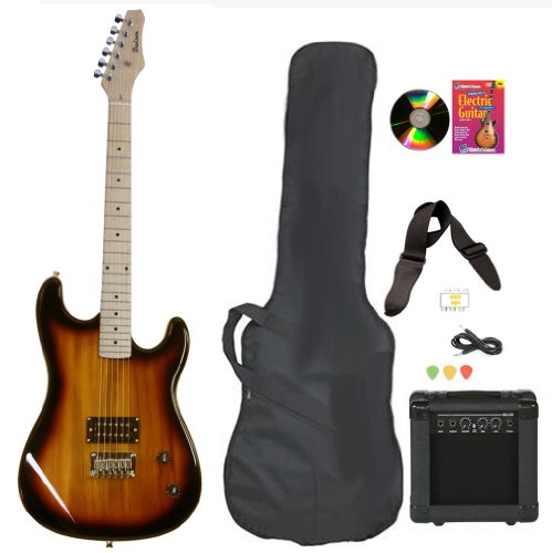 Vintage Sunburst Full Size Electric Guitar & Practice Amp with Case Strap Cord Beginner Package & DVD