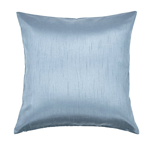 Aiking Home Solid Faux Silk Euro Sham/Pillow Cover, Zipper Closure, 26 by 26 Inches, Slate Blue ()