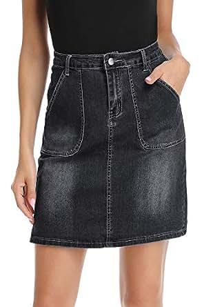 kefirlily Jean Skirt for Women Stretch Denim A Line High Waisted Knee Length Skirt with Pocket - Black - US 10