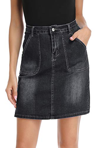 kefirlily Jean Skirt for Women Stretch Denim A Line High Waisted Knee Length Skirt with Pocket Black 2