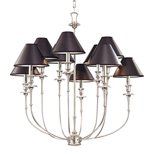 - Hudson Valley 1860-PN, Jasper Large Candle Chandelier Lighting, 10 Light, 600 Watts, Polished Nickel