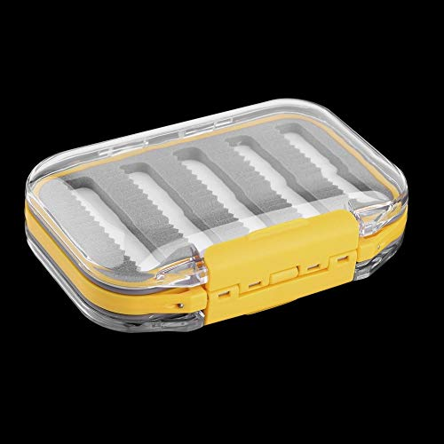 Quannaus Plastic and Foam 4.3 x 2.75 x1.2 Plastic Waterproof Fly Fishing Double Side Clear Slit Foam Fly Fishing Box Fly Box Tackle Case Box