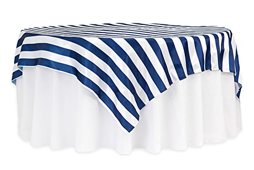 12 Pk, Stripe 90''x90'' Square Satin Table Overlay - Navy Blue & White by CVL
