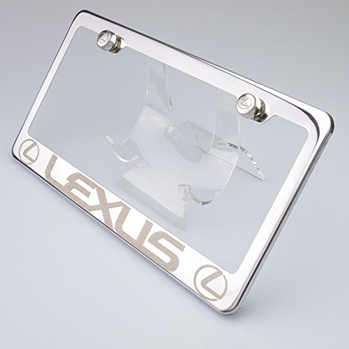 100% Stainless Steel Lexus Laser Engrave Chrome Mirror Polish License Plate Frame Holder with Logo Steel Screw Caps