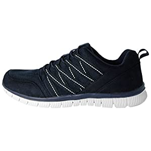 Mens Cushion Walk Faux Suede Canvas Elastic Laces Slip On Super Lightweight Sports Casual Trainers Go Shoes Size 7-12