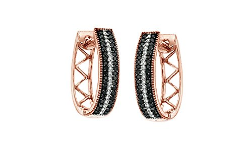 10k Solid Rose Gold Black & White Natural Diamond Stripe Oval Hoop Earrings (1/3 Cttw, I2-I3 Clarity)