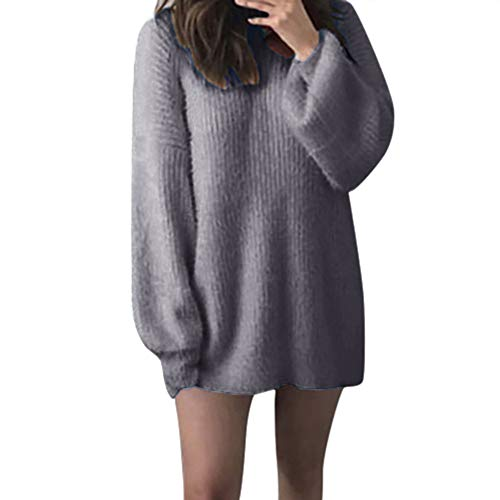ANJUNIE Knitted Skirt Fashion Women Solid O-Neck Loose Warm Long Latern Sleeve Sweater Blouse Dress(Gray,2XL)