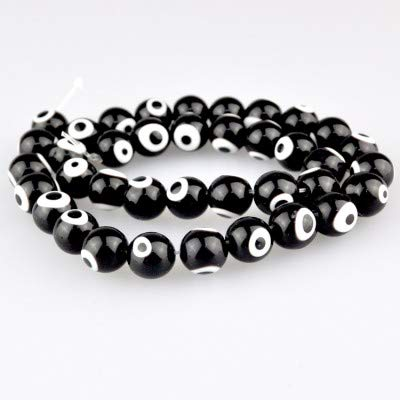 Calvas Lampwork Murano Beads Fashion 4mm Round Shape Beads Glass Evil Eye Lampwork Beads for Bracelet Jewelry Making & DIY Craft - (Color: Black, Item Diameter: ()