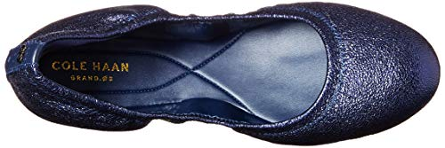 Haan Leather II Zerogrand Cole Metallic Ballet Women's Flat Navy 7dq78