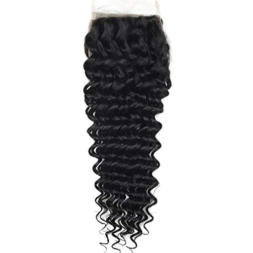 Angie Queen Human Hair Free Part Closure Brazilian Lace Closure Deep Wave Human Hair Closure Unprocessed Virgin Hair 130% Density Lace Closure Free Part Natural Color Hair Bleached Knots 18Inch from Angie Queen Hair