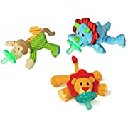 WubbaNub Infant Plush Pacifier - Limited Edition Set (Mango Monkey, Okey Dokey Dino, Little Lion)