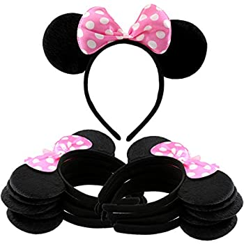 30 PCS Minnie Mouse Ears Headbands Black Pink Polka Dot Bow Party Favors Mickey