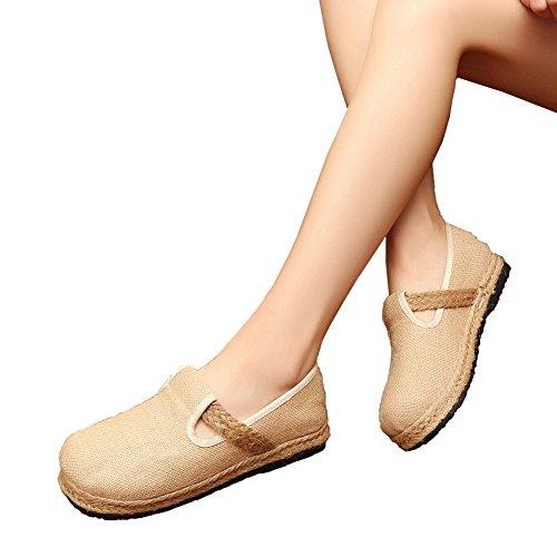 Kvinners Loafers Sko Flate Pustende Landlig Stil Sko Beige