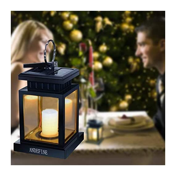"Solar Lights Outdoor Hanging Lanterns, ANDEFINE Solar Lanterns Outdoor Waterproof Led Umbrella Lights Candle Lamps Hang on Patio Umbrella Shepherd's Hooks Tree Garden (Yellow Light, 4 Pack) - Cute & Portable - LED solar lantern lights size: 3.46""x3.46""x5.5"", with a metal clamp and ring. Easy to hang these solar candle lantern lights to anywhere you want. Lighting and decoration your environment. Perfect Christmas gift! Auto Sensor - Slide the bottom switch to ""AUTO"",outdoor hanging lantern lights will automatically charge itself during the day and light up at night. Solar powered LED lanterns emit a faint yellow light and keep flashing, like the wind blows over the candle lanterns, create a romantic and comfortable space. Weatherproof & Sturdy - Solar umbrella lights made of high quality ABS plastic and metal, withstand sun-scorched and rain-drenched, perfect suitable for outdoor use. Replaceable battery design let the solar lights provide longer service. - patio, outdoor-lights, outdoor-decor - 41CRclFRC1L. SS570  -"