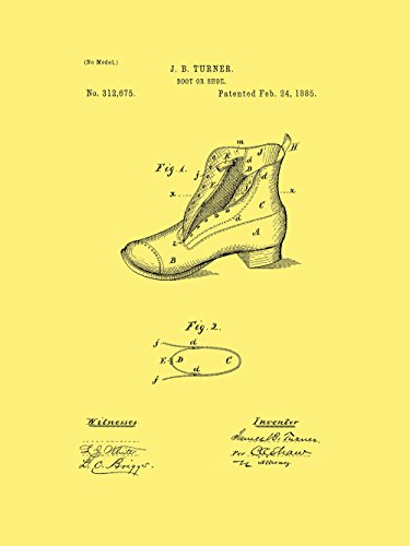 Framable Patent Art the Original Poster Art Print Footwear Shoe Boot 18in by 24in Patent Vintage PAPSP112VC, Cream