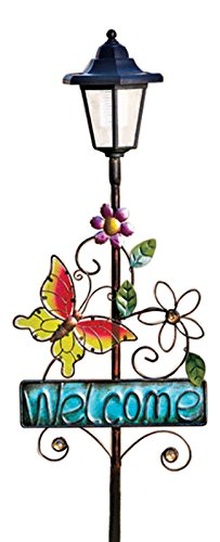 Lighted Solar Butterfly Welcome Sign