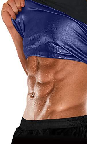 (Sweat Shaper Men's Premium Workout Tank Top Slimming Polymer Sauna Vest for Weight Loss Tummy Fat Burning ,Black)