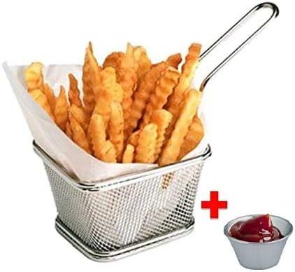 8Pcs Mini Chips en Acier Inoxydable Deep Fry Paniers Passoire Alimentaire Passoire De Cuisson Outil De Cuisson Victool Chip Frying Fry Serving Basket
