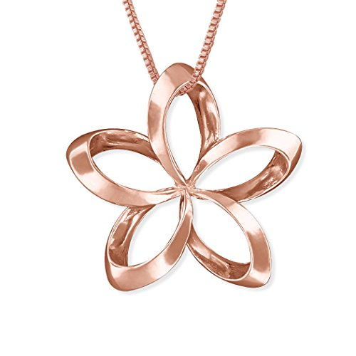 14kt Rose Gold Plated Sterling Silver 24mm Open Plumeria Pendant Necklace, 16+2