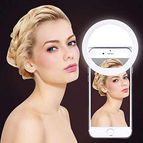 Selfie Ring Lights (Dimmable), Clip on Cellphone LED Ring light [Rechargeable Battery] with 36 LED for iPhone X 6 6S 7 8 Plus Samsung Galaxy S6 S7 S8 Edge Smart Phone Camera Round Shape(White)