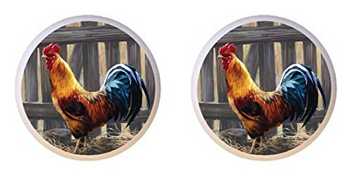 SET OF 2 KNOBS - Barred Rock Rooster - Chickens - DECORATIVE Glossy CERAMIC Cupboard Cabinet PULLS Dresser Drawer (Rock Knob)