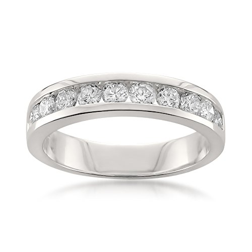 Platinum 11-Stone Round Diamond Bridal Wedding Band Ring (1 cttw, H-I, SI1-SI2), Size 4.5
