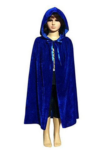 Fashionclubs Children Halloween Hooded Velvet Cloak Cape Cosplay Costumes (L, Blue) (Goth Halloween Costumes For Kids)