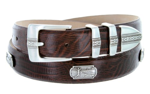 Scottsdale Golf - Men's Italian Calfskin Designer Dress Belt with Golf Conchos (34 Lizard - Belts Golf Concho