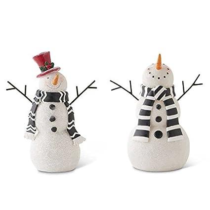 K K Interiors Set Of 3 Resin Snowmen Grad Sizes