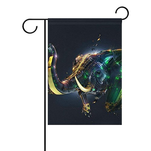 Home 3D Elephant Polyester Fabric Garden Flags Lovely And Mi