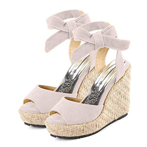 (Cenglings Women's Espadrilles Sandals, Ladies Fish Mouth Wedges High Heel Shoes Lace-Up Strappy Platform Beach Roman Shoes Beige)