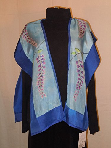 Silk shawl ''wisteria'' hand painted silk top; one size silk tunic; original design hand painted silk; blue tunic; #V11 by First Fruits Apparel