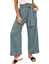 YAMTHR Womens High Waist Palazzo Wide Leg Pants with Pockets Casual Loose Flowy Pant with Belt