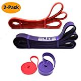 Set of 2 Pull Up Assist Bands – Resistance Bands - Exercise Loop Band for Body Stretching, Mobility, Powerlifting, Resistance Training, Official Elite Athletic Bands (Red + Purple 10-120 Lbs)