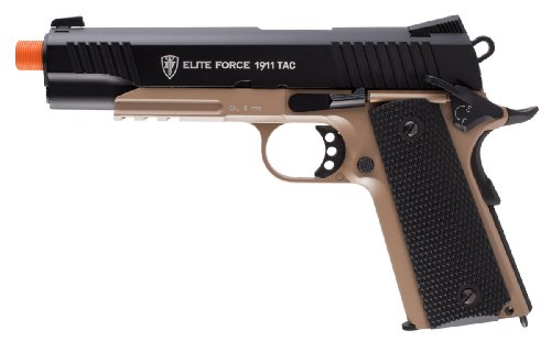 Elite Force 1911 Blowback 6 mm BB Pistol Airsoft Gun, 1911 TAC, FDE / Negro