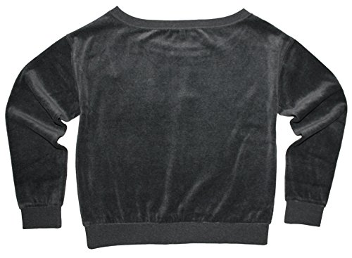 Juicy Couture Velour Relaxed Off Shoulder Top Sweater (Small, Heather Prestige)