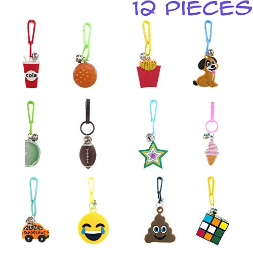 Party Favors for Kids,Boys,Girls 12 PCs Assorted Pack-Retro Backpack Keychain Charms w/Clips and Tiny Bells ()