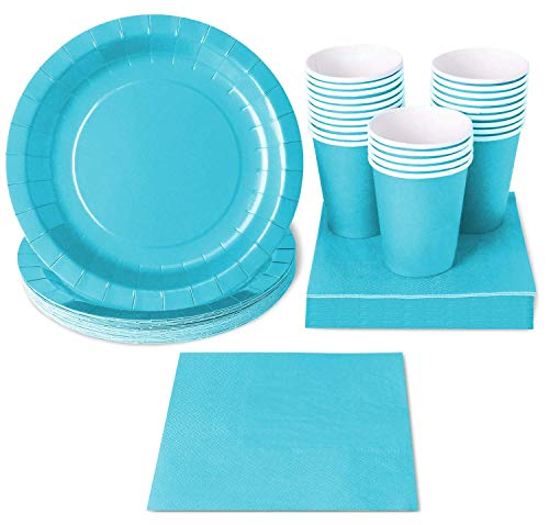 Serves 24 Light Blue Party Supplies - for Birthday & Boy, Includes Disposable Paper Plates, Napkin, Cups