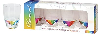 Merritt International Acrylic Drinkware Gift Sets Rainbow Diamond Tumbler 14-Ounce