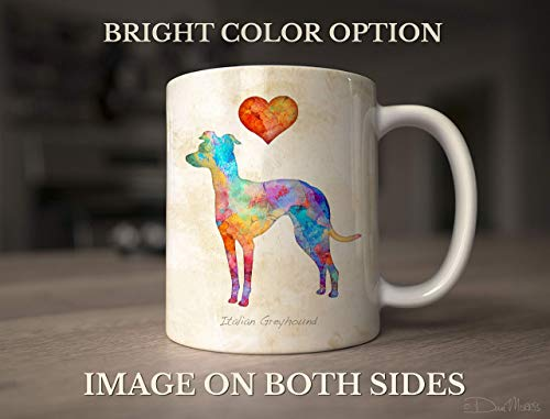 Italian Greyhound Dog Breed Mug by Dan Morris, Personalize with Dog Name ()