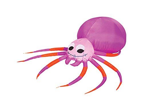 Gemmy 9454000 42 x 48 x 7.87 in. Spider Lighted Halloween Inflatable Orange Purple- pack of (Gadget X Halloween)