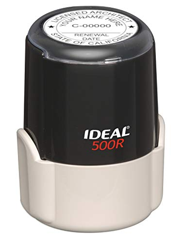 (HUBCO Ideal 500R Professional Architect Seal Stamp (1.75-inch Image Size, Black) | California)