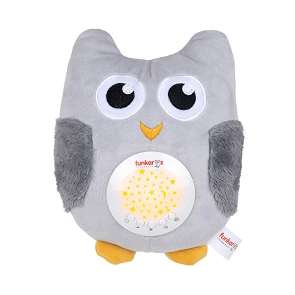Rechargeable Funkarooz Baby Owl White Noise Machine with Lullaby Sounds, LED Night Lights, Mothers Shushing Voice, Portable Sleep Aid for Nursery Crib, Stroller, Travel Use