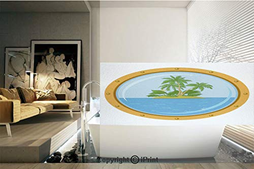 Decorative Privacy Window Film/Graphic of Tropic Island View from the Bronze Ship Window with Palm Trees/No-Glue Self Static Cling for Home Bedroom Bathroom Kitchen Office Decor Blue Green Orange