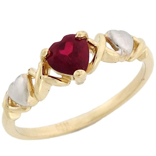 Jewelry Liquidation 10k Two-Tone Gold Heart Shape Simulated Garnet January Birthstone Ring