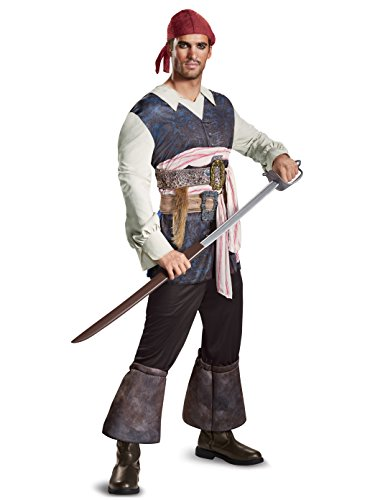 Guy Pirate Costume (Disney Men's Plus Size POTC5 Captain Jack Sparrow Classic Adult Costume, Brown,)