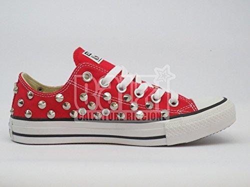 Converse all star Borchie OX basse Rosso red (prodotto artigianale )