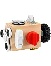Nedyet Busy -board baby, activiteitsdobbelstenen speelgoed met sloten, draagbaar anti-stress speelgoed, activiteitenbord, motoriekubus, houten speelgoed, Montessori educatief speelgoed voor peuters