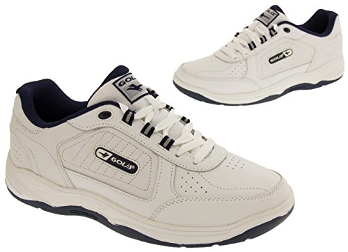Gola Mens Belmont Ama203 Sneakers Stringate In Vera Pelle Bianca Stringate